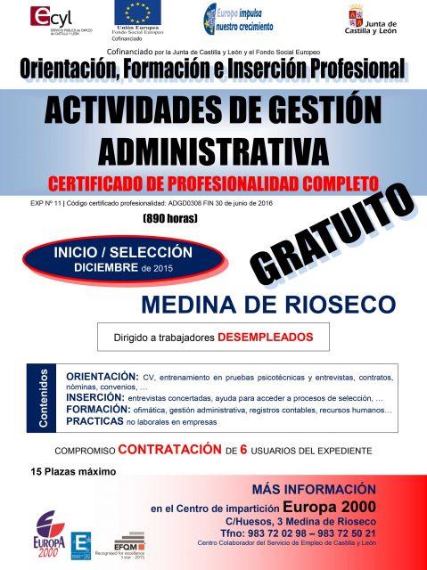 CURSO GRATUITO´ACTIVIDADES DE GESTIÓN ADMINISTRATIVA´ EN MEDINA DE RIOSECO